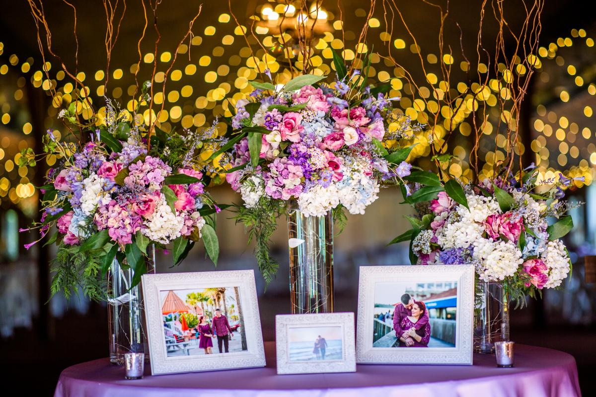 lilac and light blue whimsical  wedding reception details
