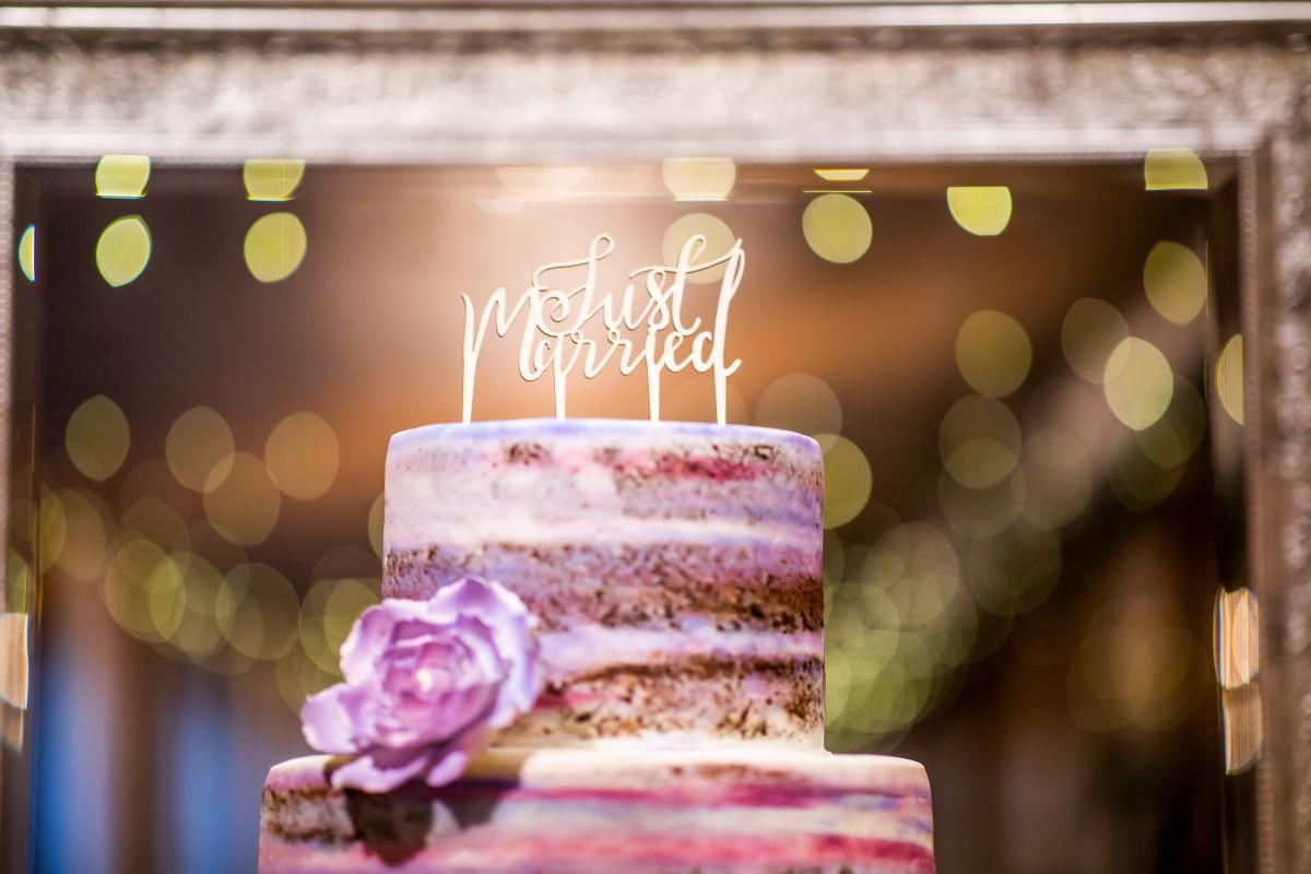 Lilac and pink semi-naked wedding cake from Alessi Bakery