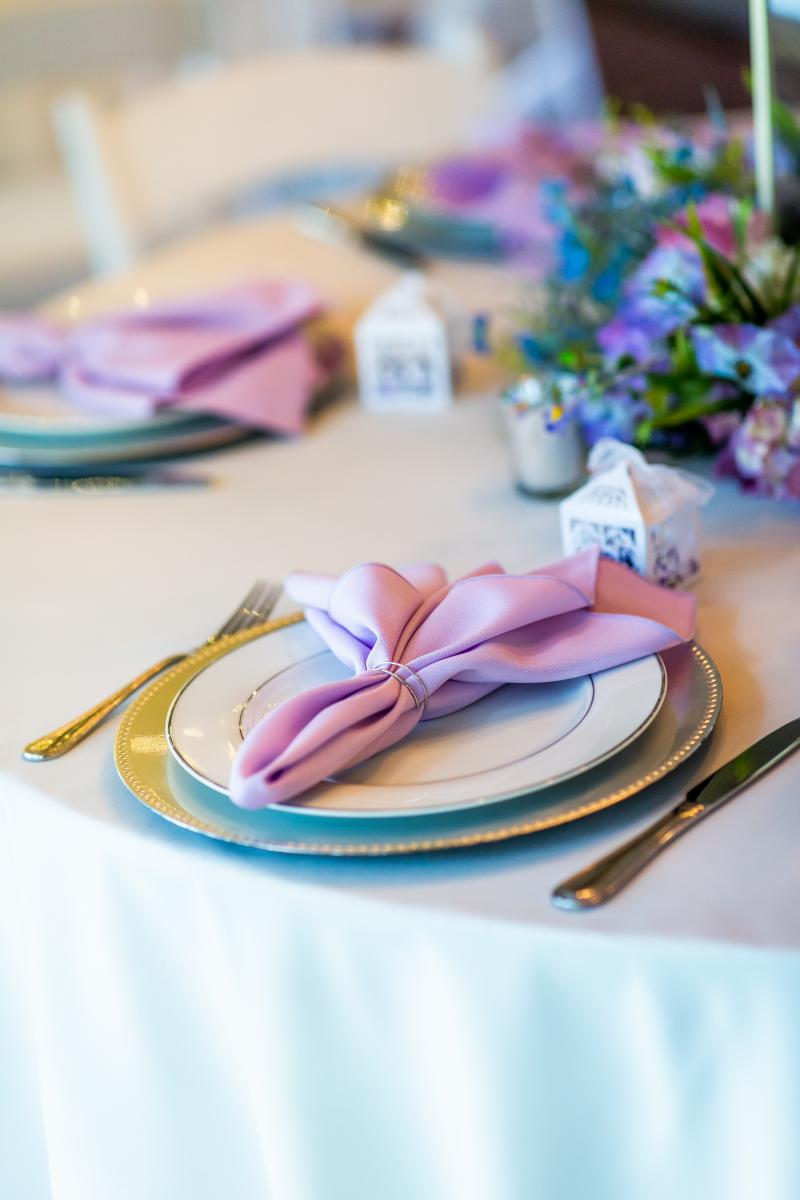 Lilac napkins and silver place settings