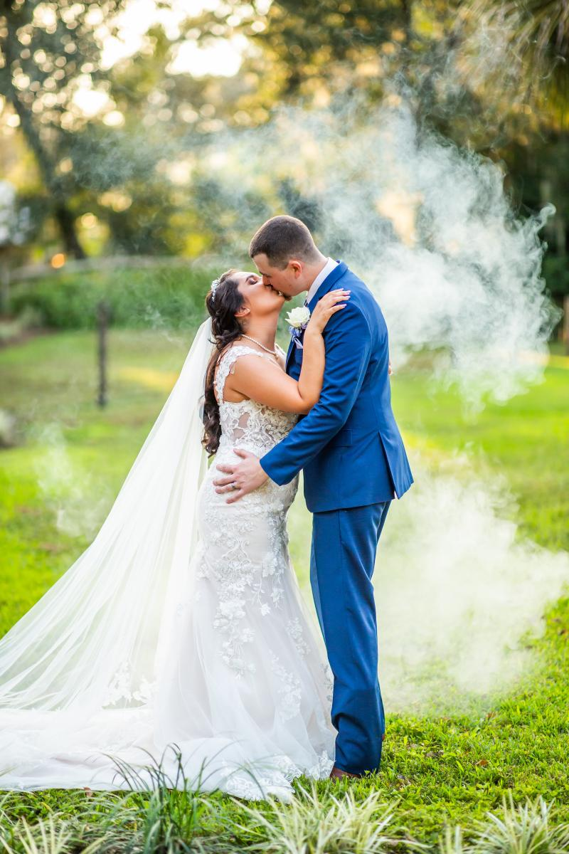 Sophia and Zachary in love on their wedding day