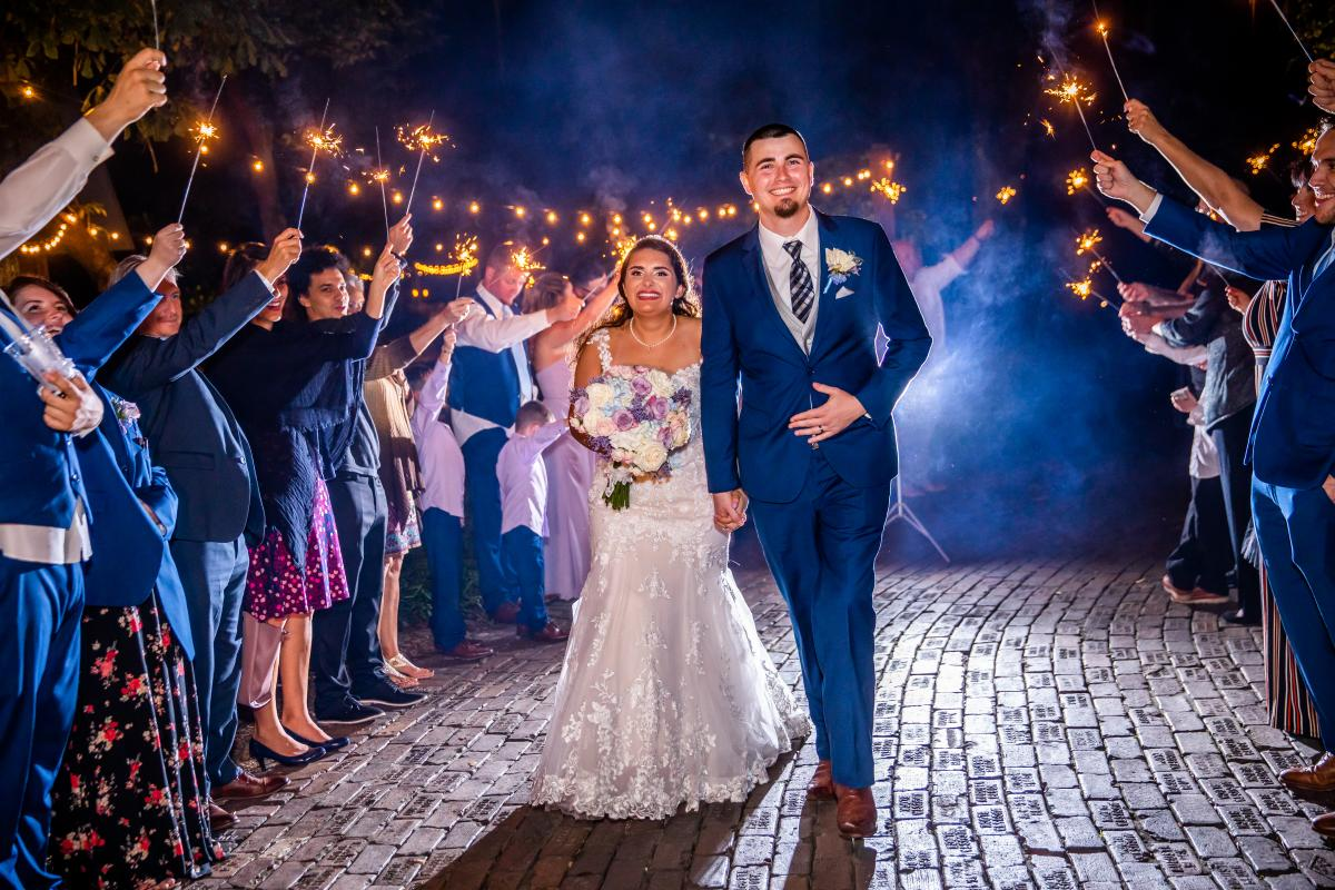 Sophia and Zachary's grand sparkler exit
