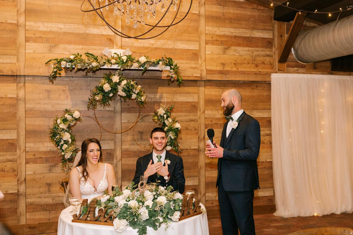 Wedding toasts at the Carriage House Stable