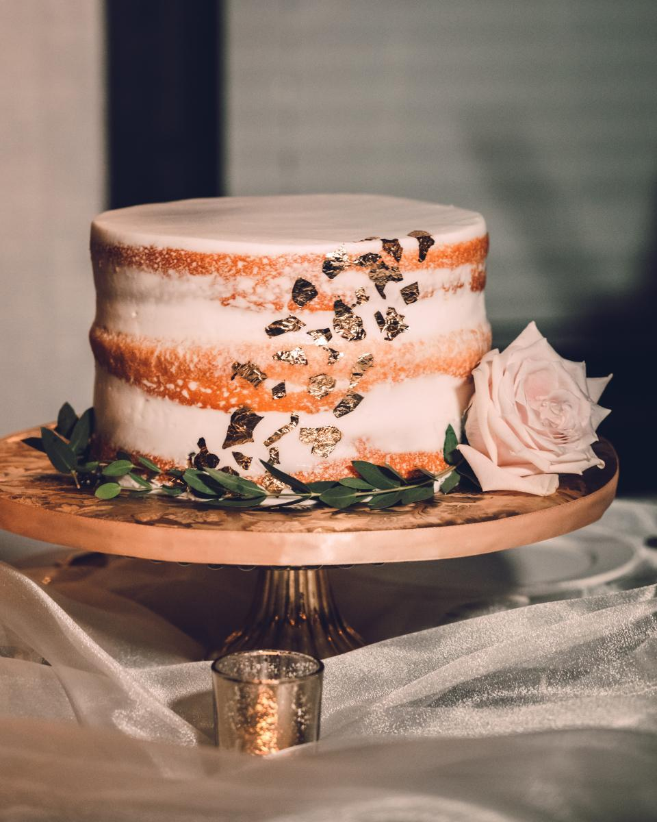 Semi-naked gold flake wedding cake