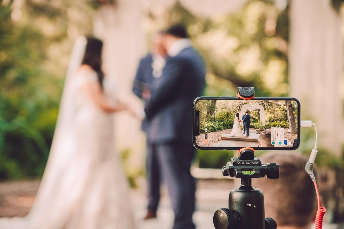 Live video feed for micro wedding