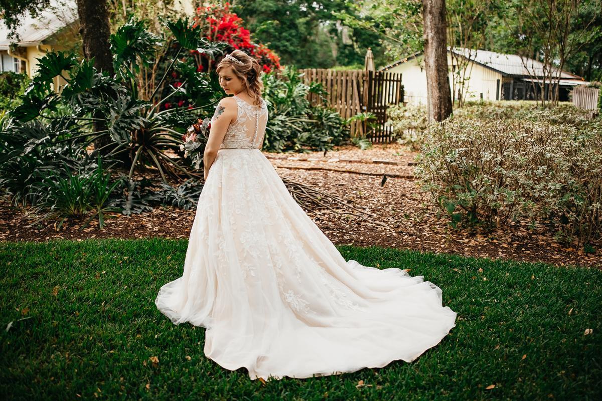 Shanna in her ballgown wedding dress