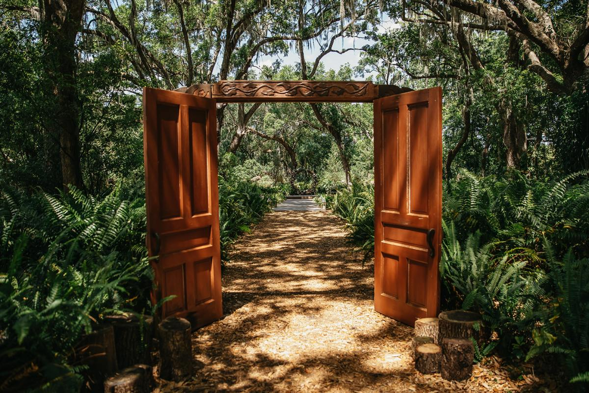 The wooden doors at the Enchanted Forest