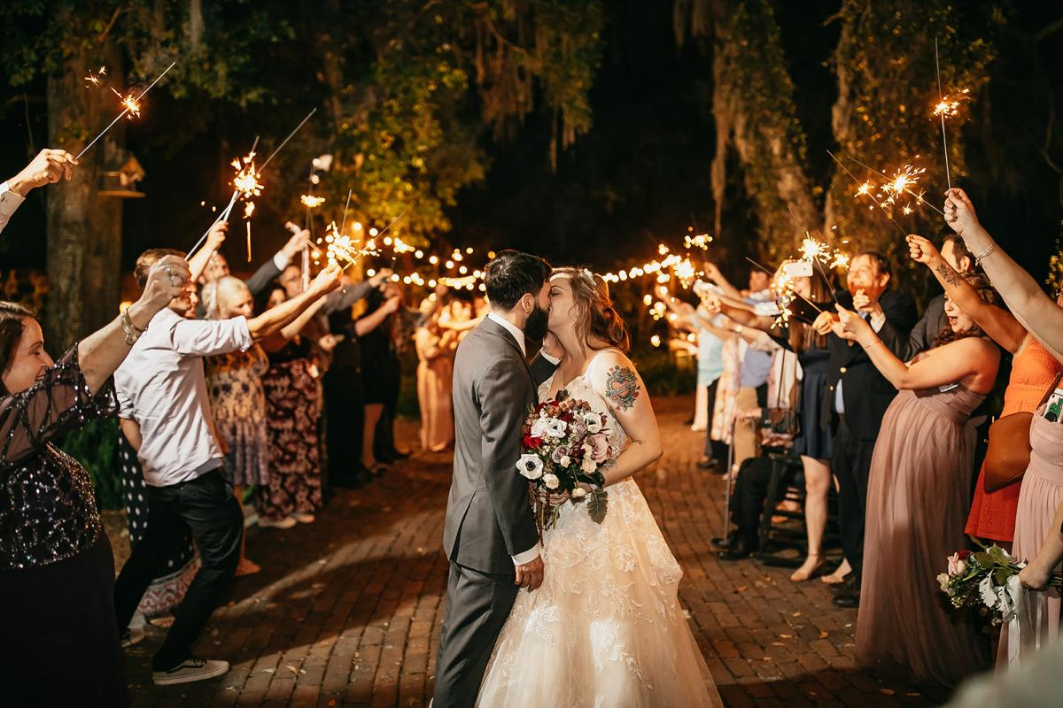 Shanna and Chris's sparkler exit