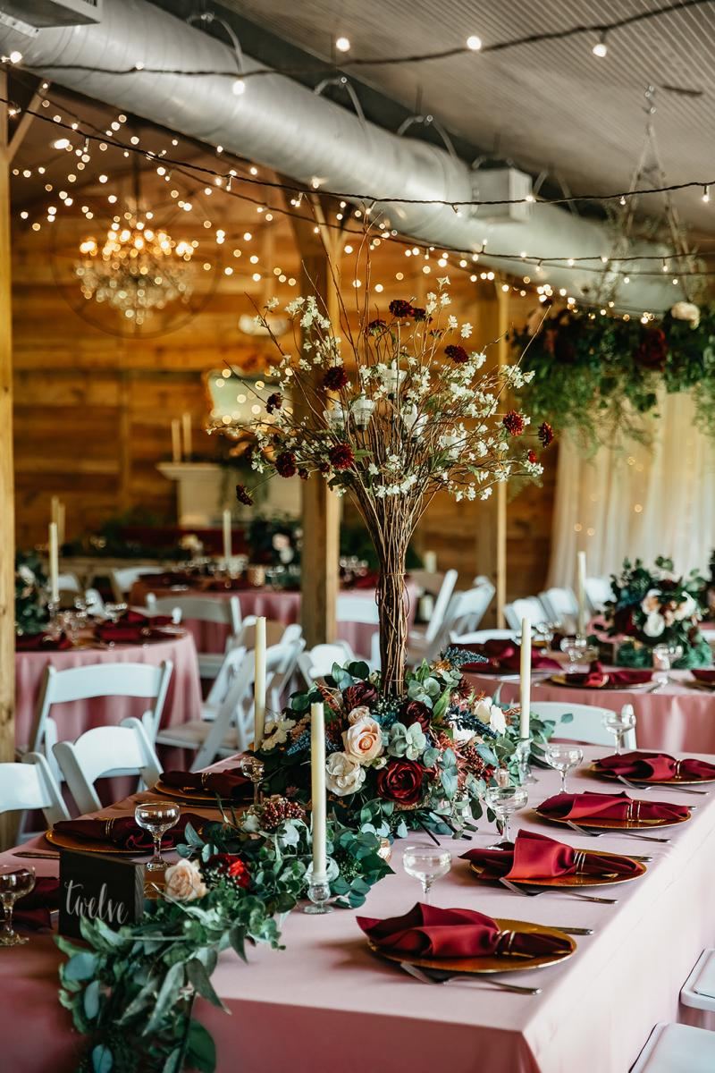 Whimsical forest wedding reception decor