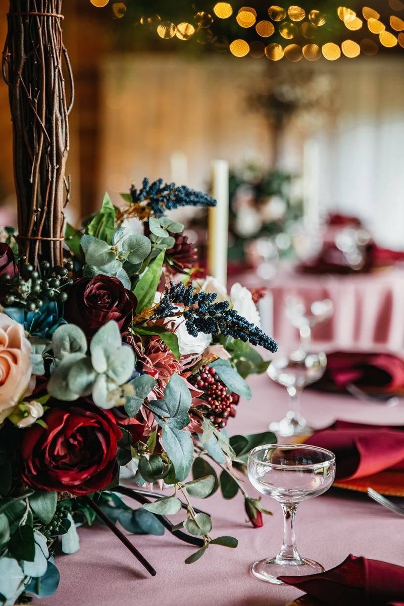 Whimsical forest wedding centerpiece
