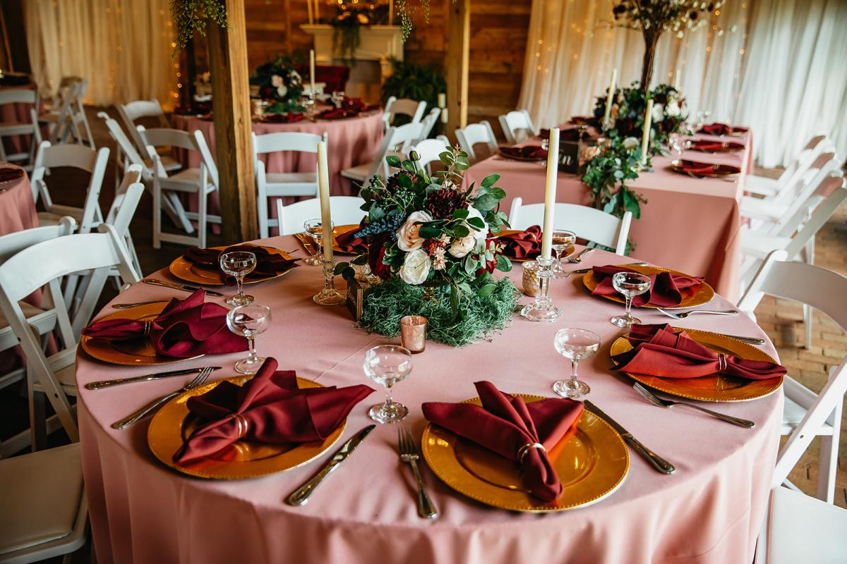 Whimsical forest wedding reception table layout
