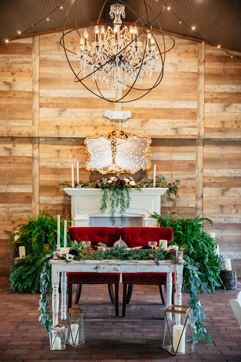 Whimsical forest wedding sweetheart table
