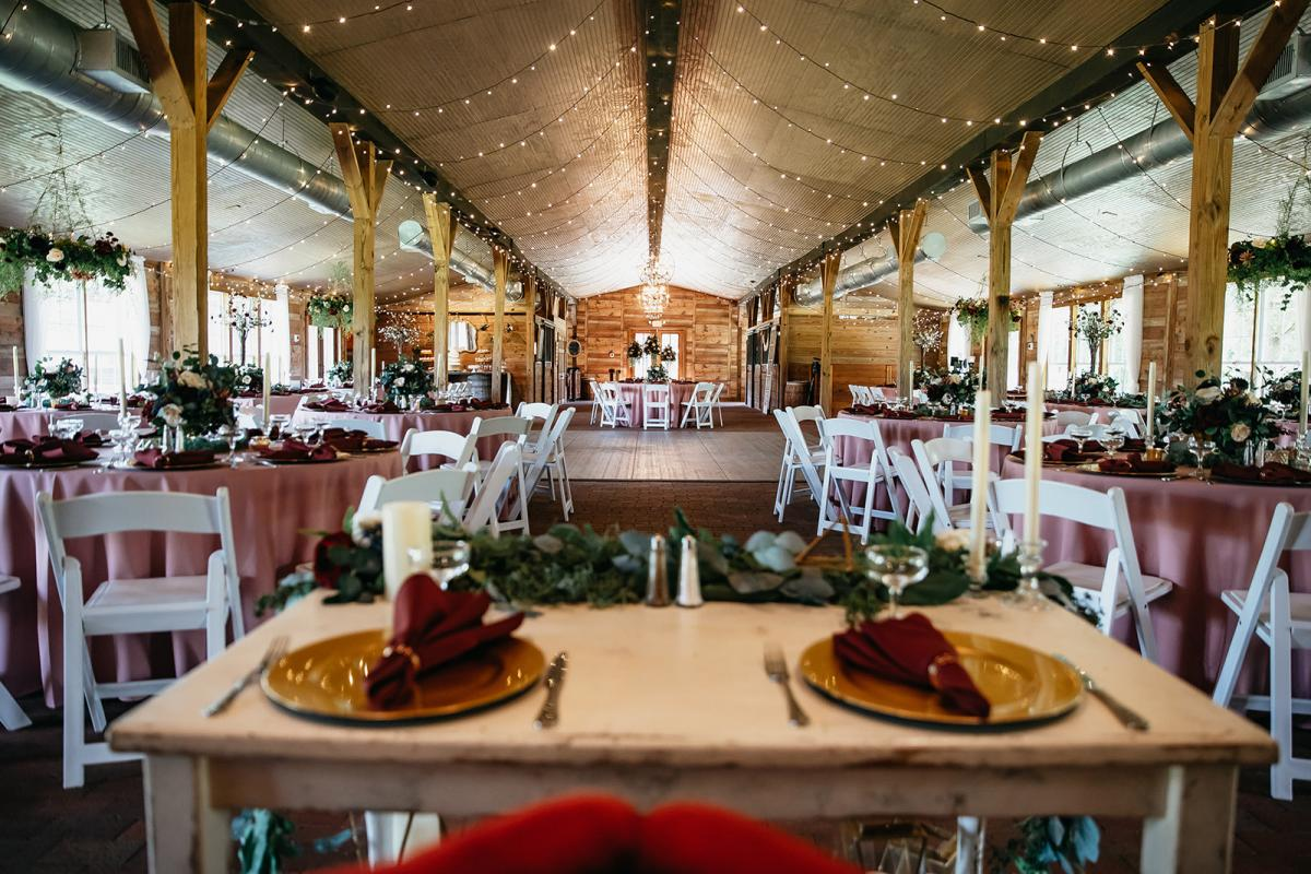 Shanna and Chris's view of the Carriage House Stable from their sweetheart table