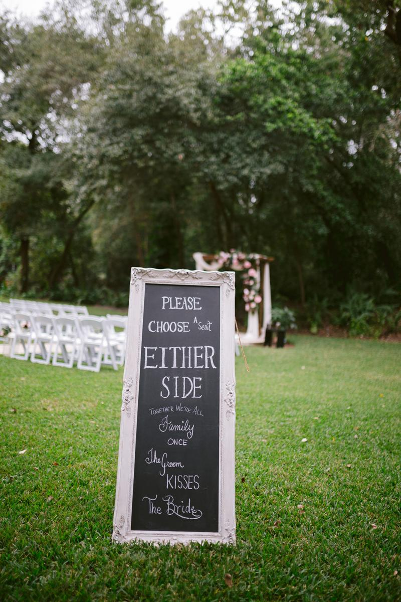 Ceremony choose and seat either side sign