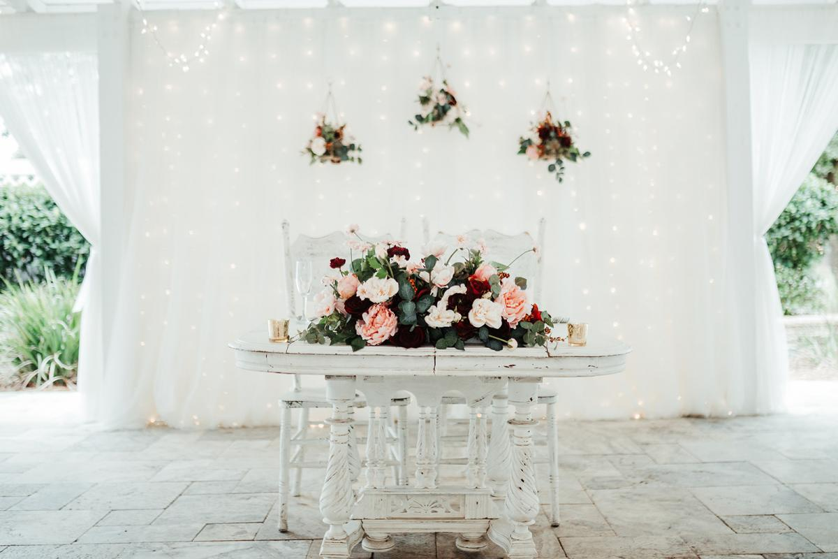 elegant and traditional sweetheart table