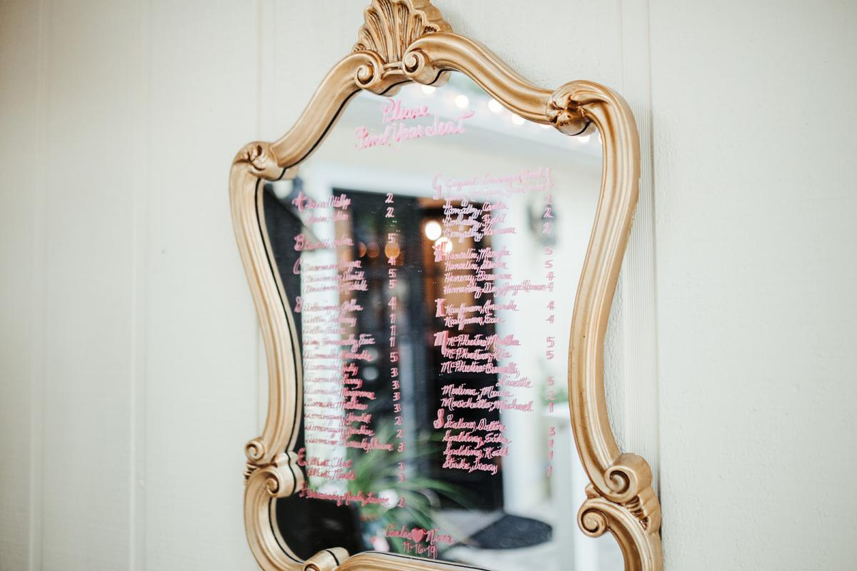 Hand written gold mirror seating chart