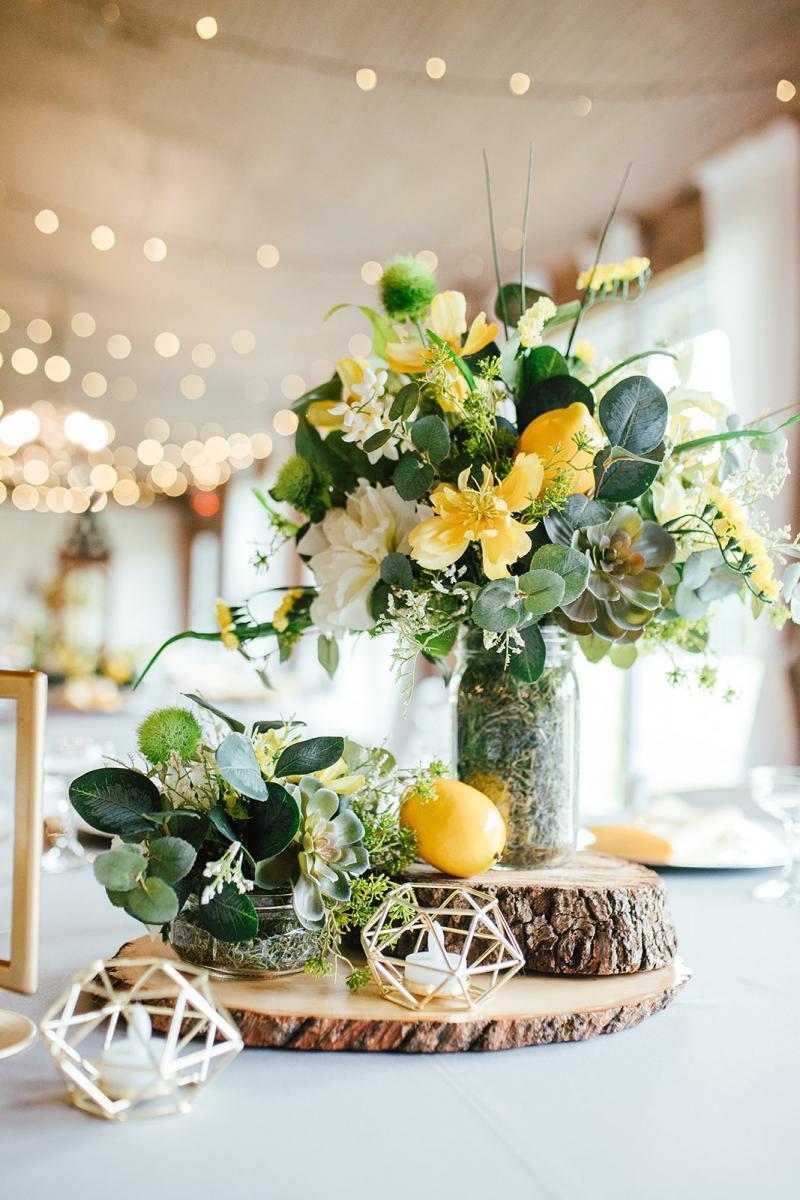 Bright citrus wedding centerpiece