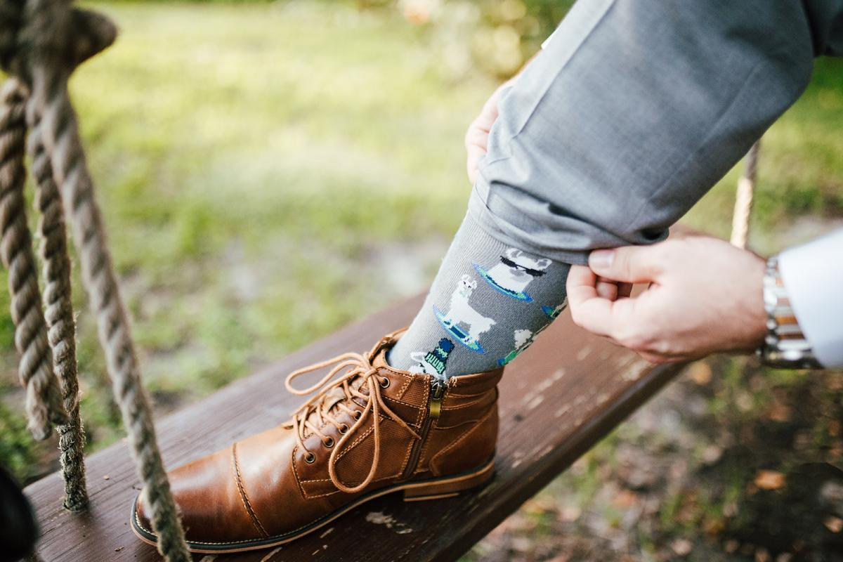 Alpaca socks for the groom