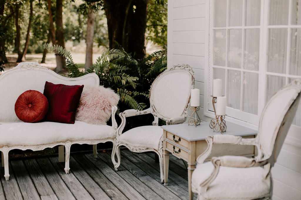 The vintage furniture on the Chapel front porch