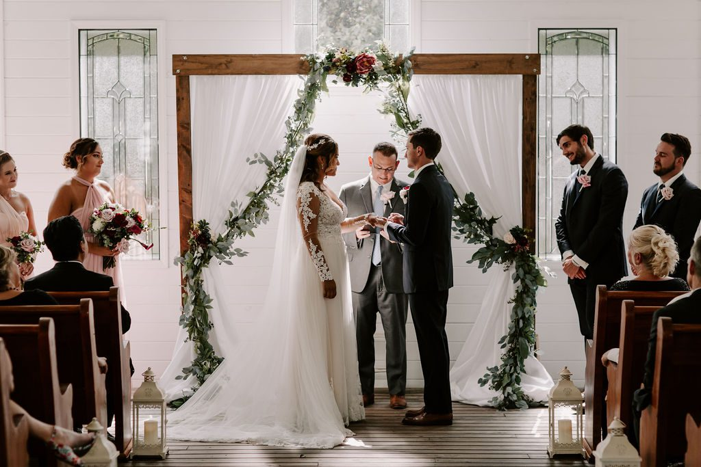 Modern romantic wedding ceremony in the Chapel