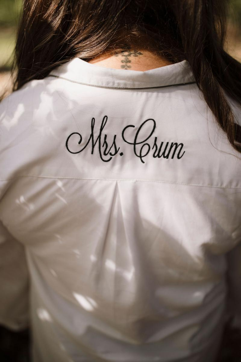 Personalized bridal getting ready outfit