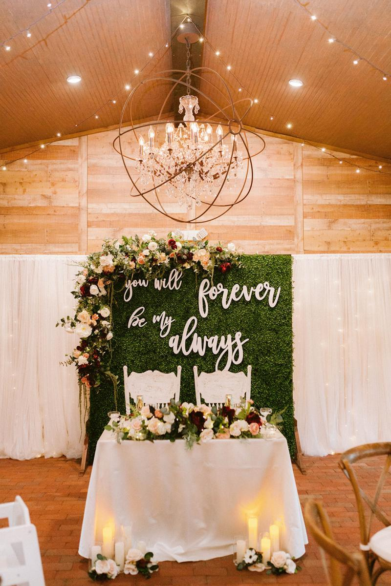 Modern romantic sweetheart table