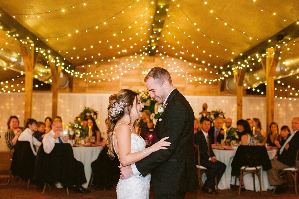 First dances underneath the twinkle lights of the Carriage House Stable