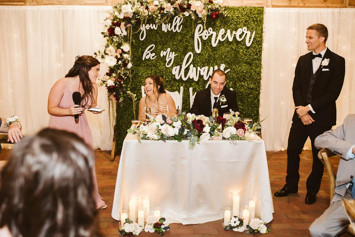 Wedding toasts from the bride and groom's sweetheart table
