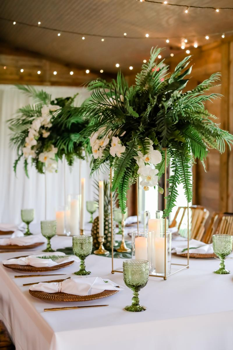 Fresh tropical style shoot centerpieces