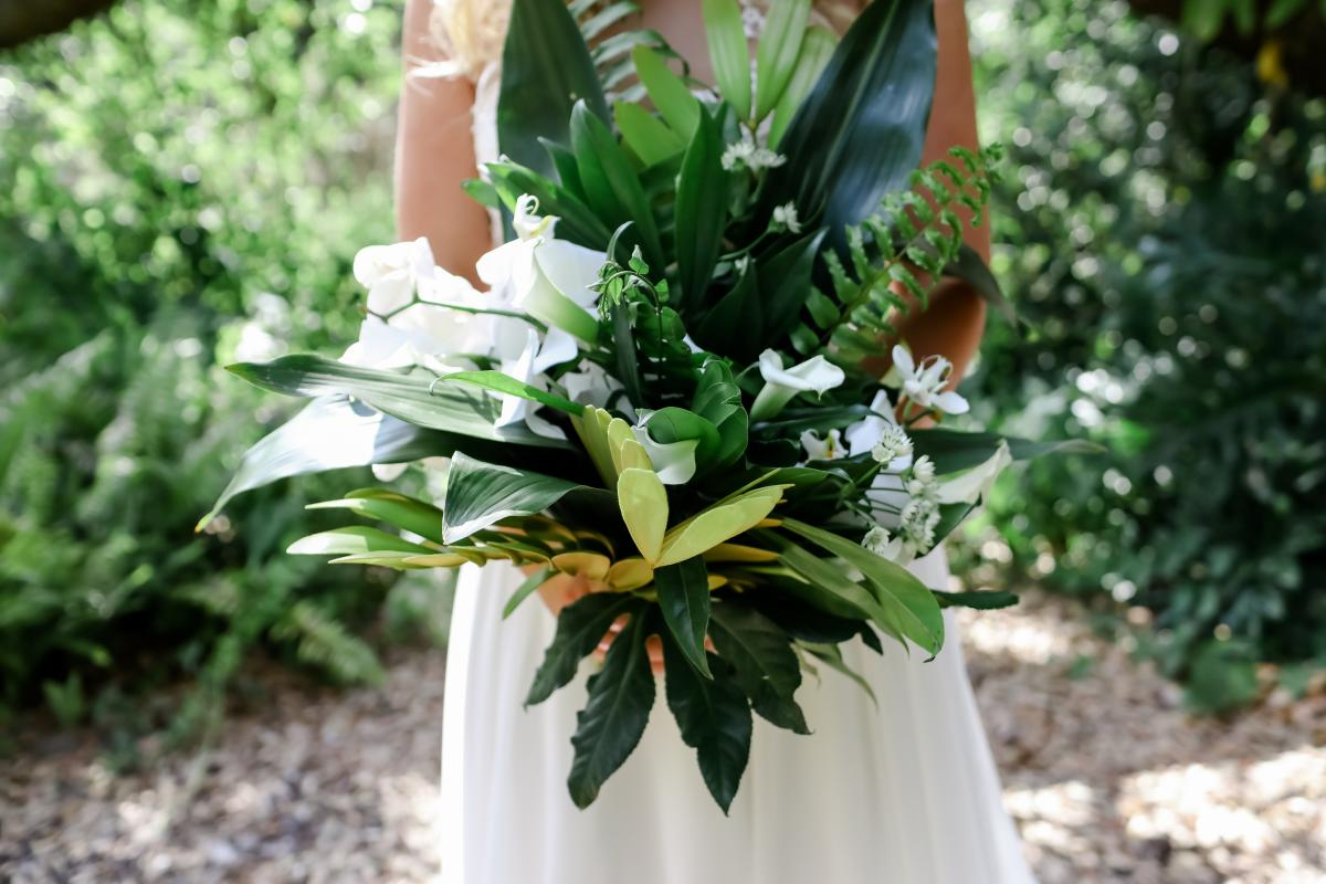 Lush bouquet of tropical greenery for the bouquet