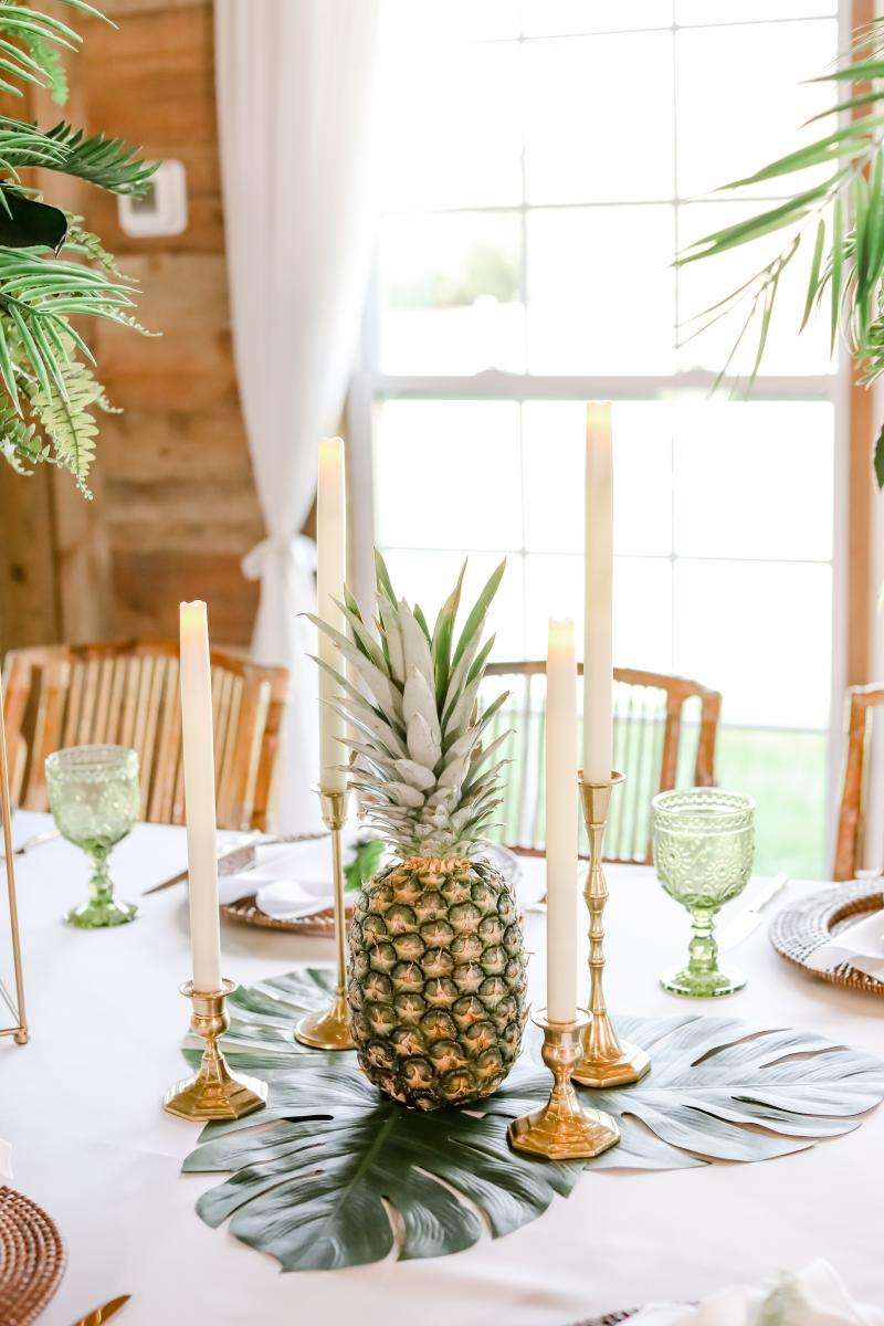 Fresh pineapples were used for this tropical styled shoot