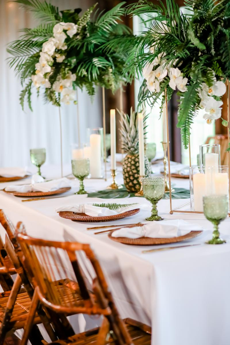 Fresh tropical styled shoot table decor
