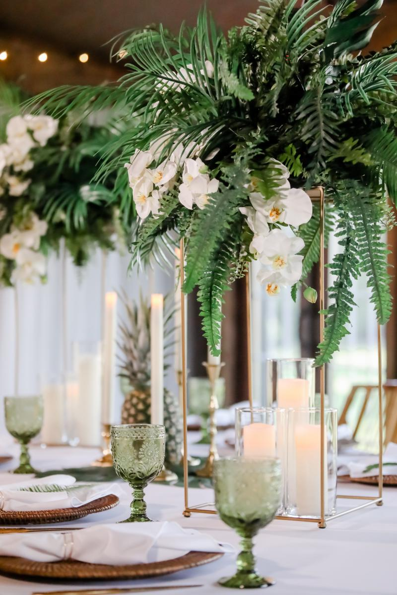 Detailed photo of the centerpieces for the fresh tropical styled shoot