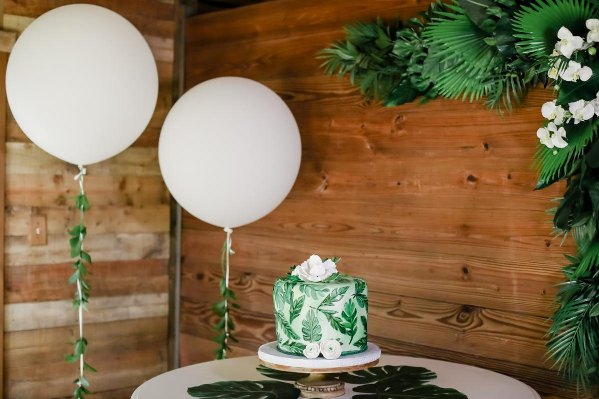 A banana leaf print wedding cake