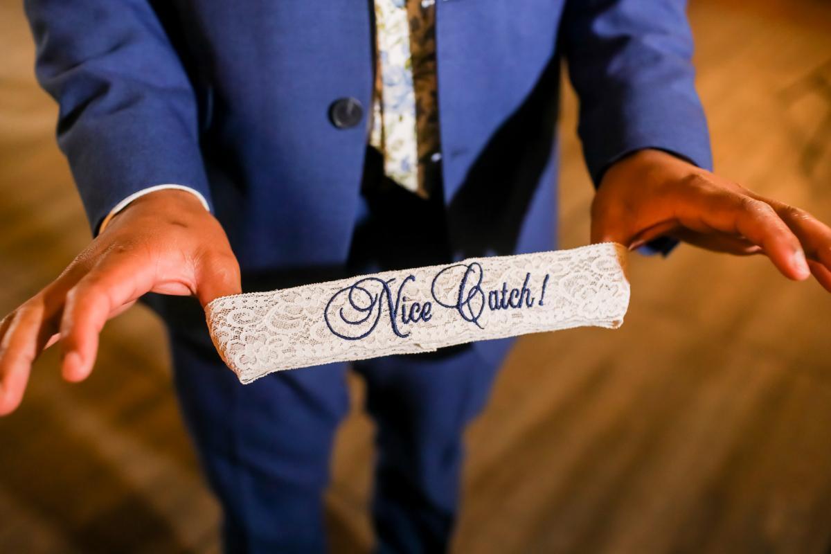Custom wedding garter for the garter toss