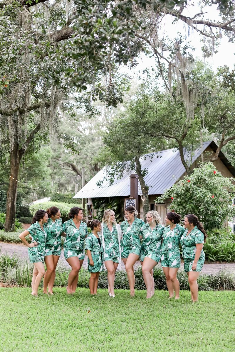 Tropical print bridesmaid pajamas
