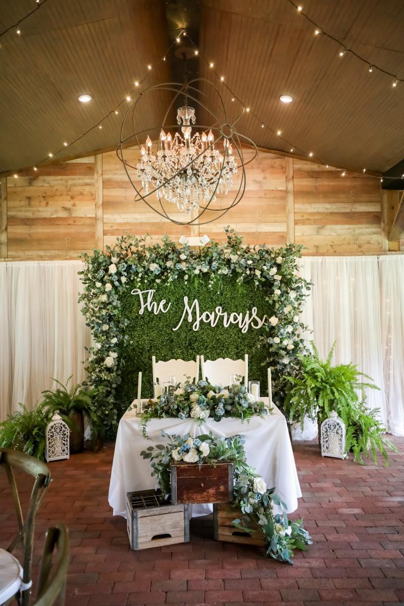 Garden inspired wedding sweetheart table decor