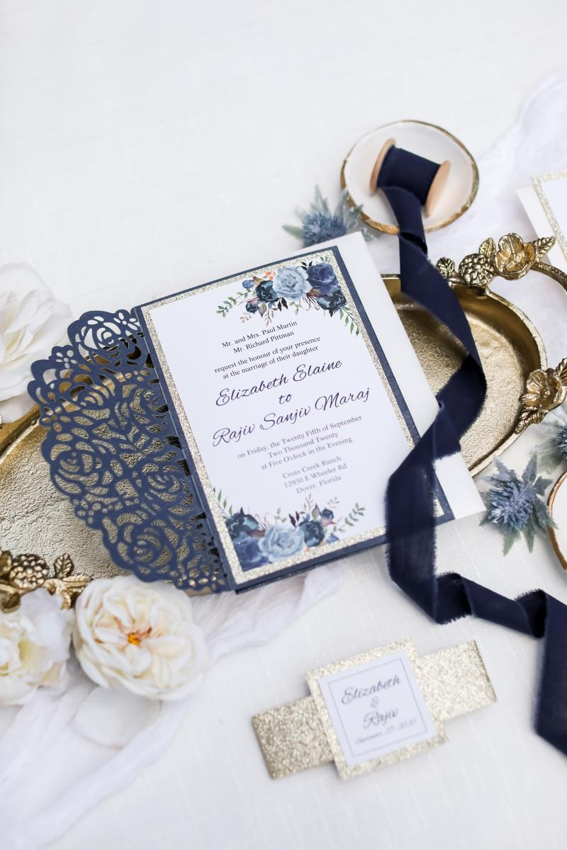 Lace laser cut wedding invitations