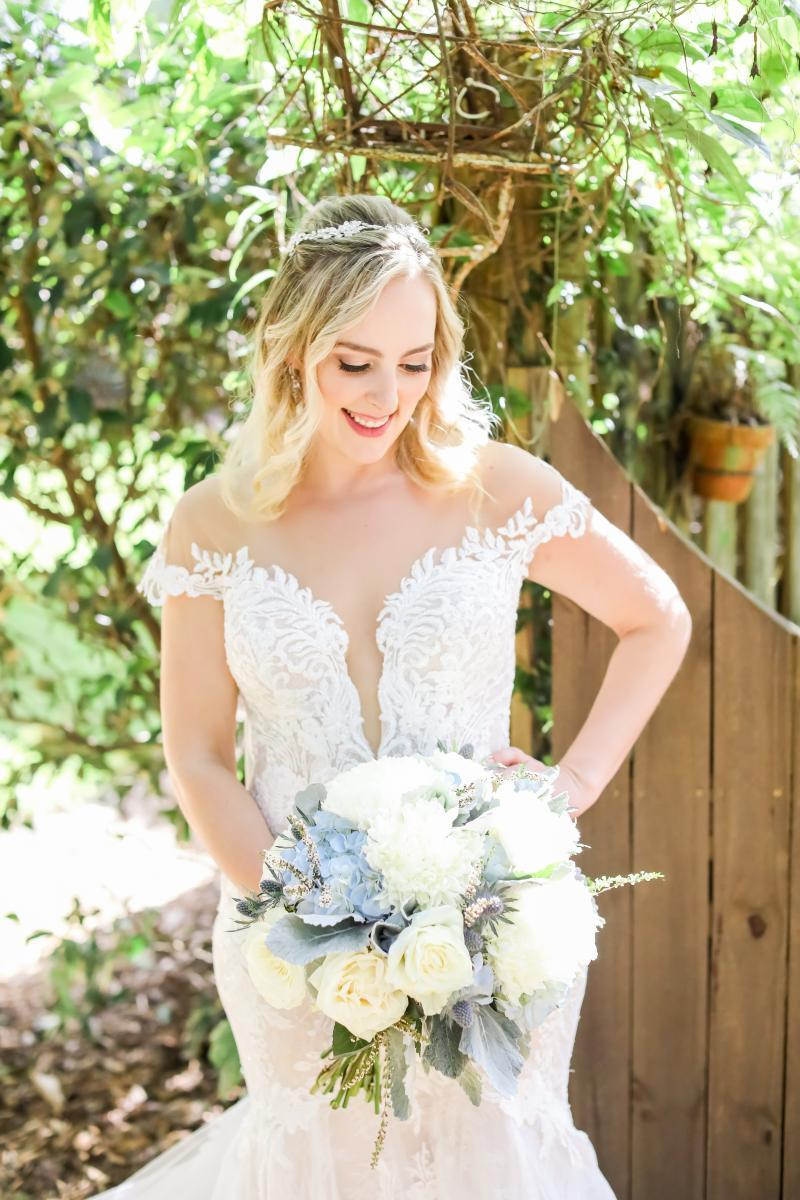 Martina Liana off the shoulder deep v-neck lace bodice wedding dress