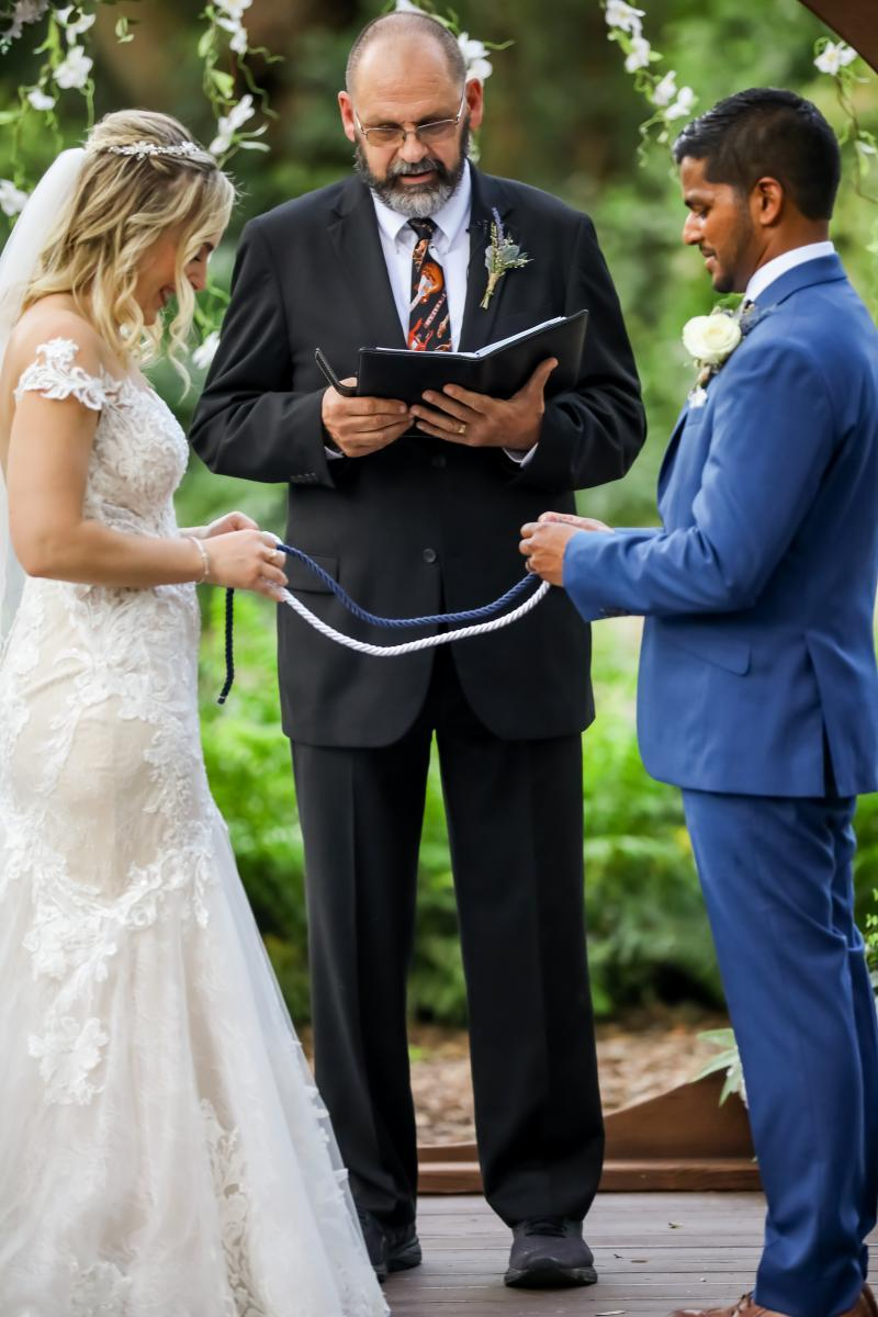 Braiding of the 3 cords wedding unity ceremony