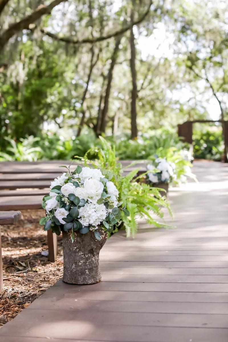 Garden inspired wedding ceremony aisle details