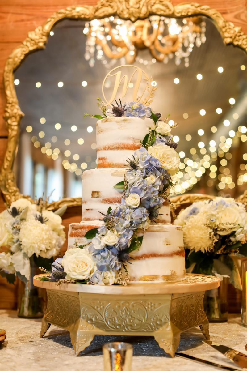 Romantic three tier wedding cake