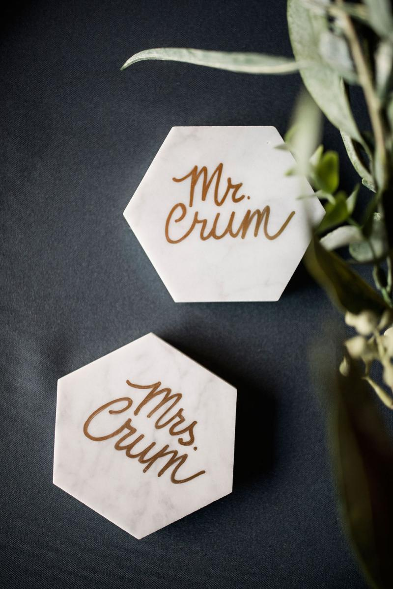 Modern marble place card coasters