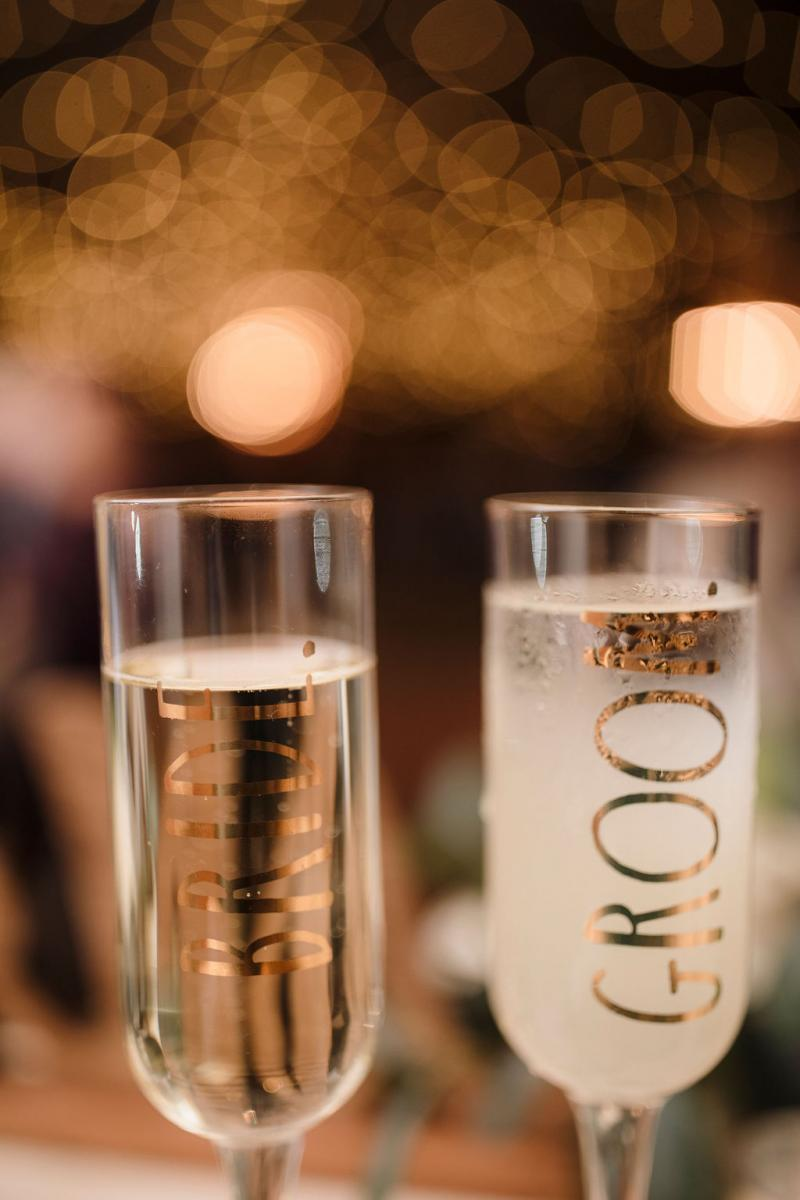 Personalized toasting glasses for the bride and groom