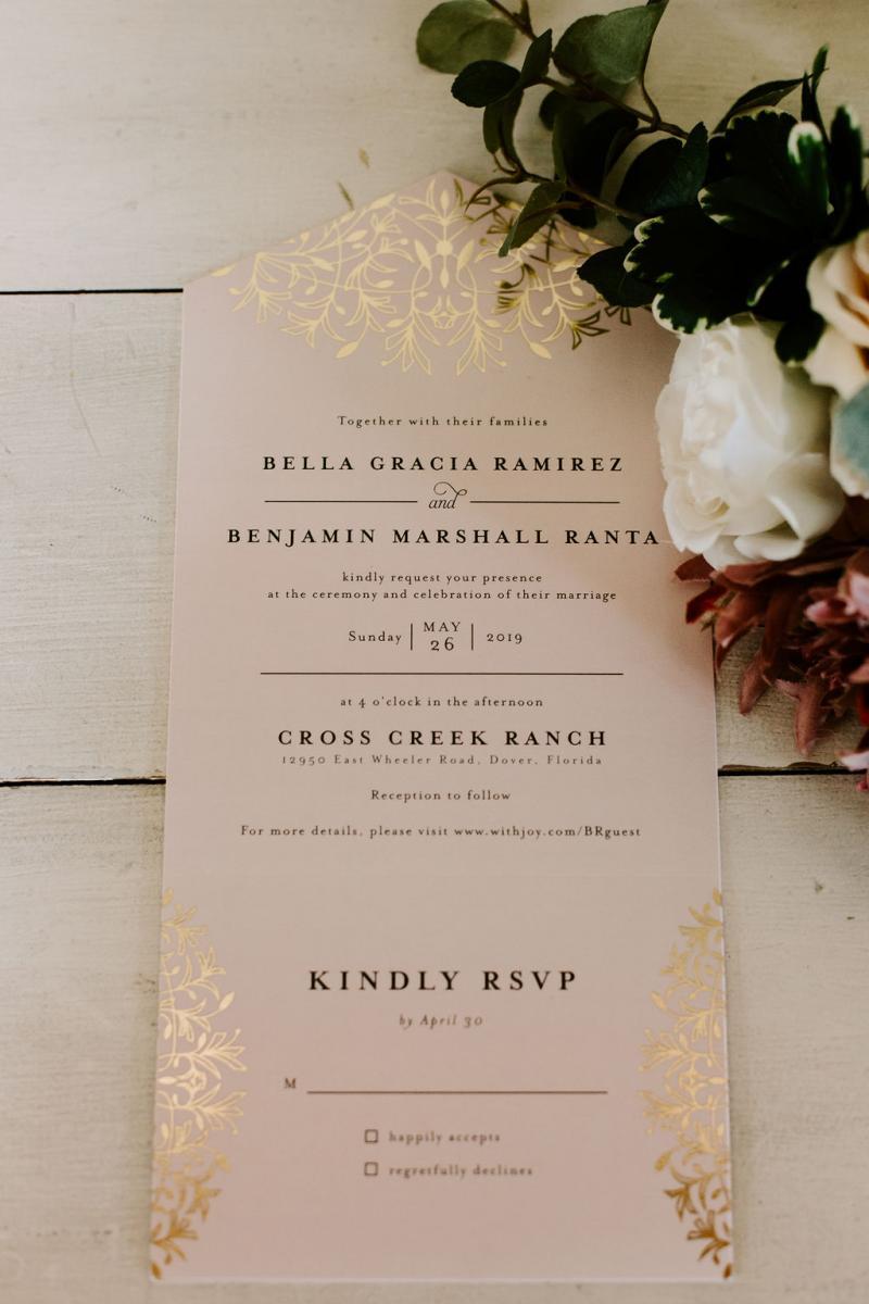 Modern romantic wedding invitation