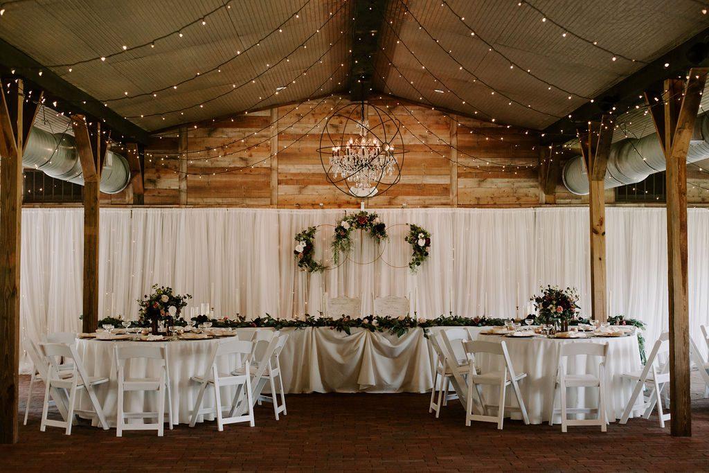 Burgundy and blush wedding reception