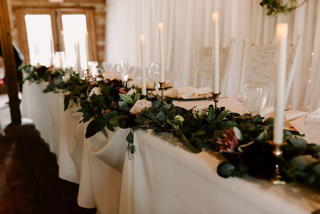 Romantic candlelit wedding reception