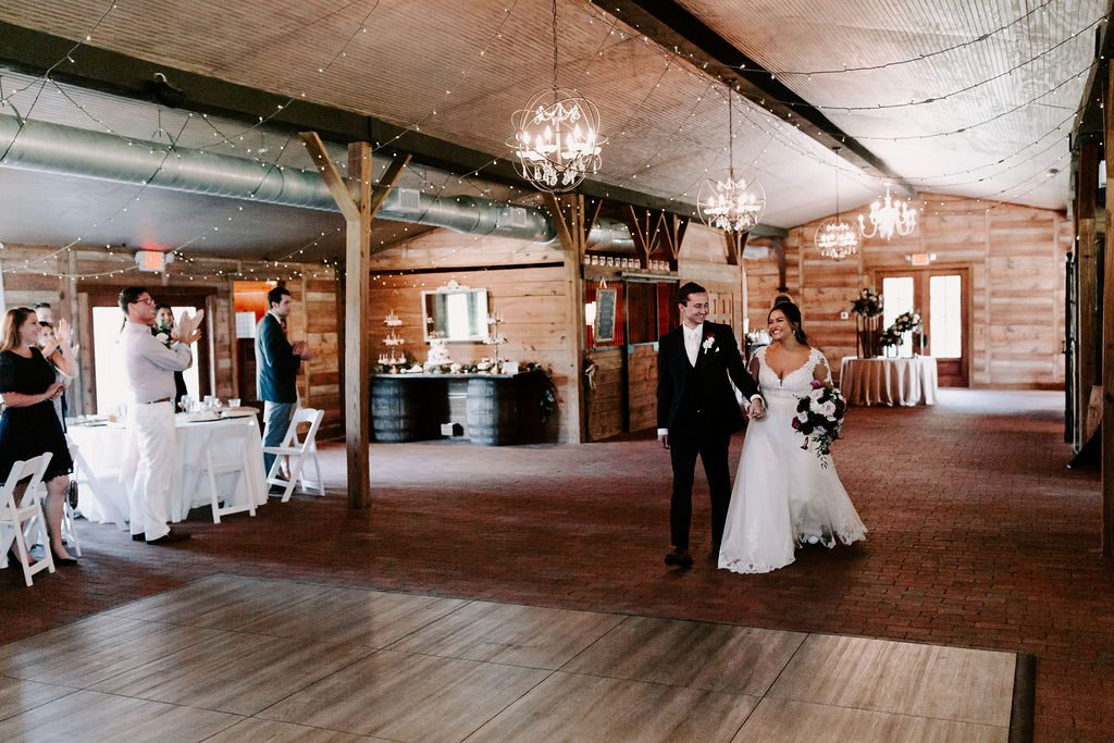 Wedding reception introductions at the Carriage House Stable