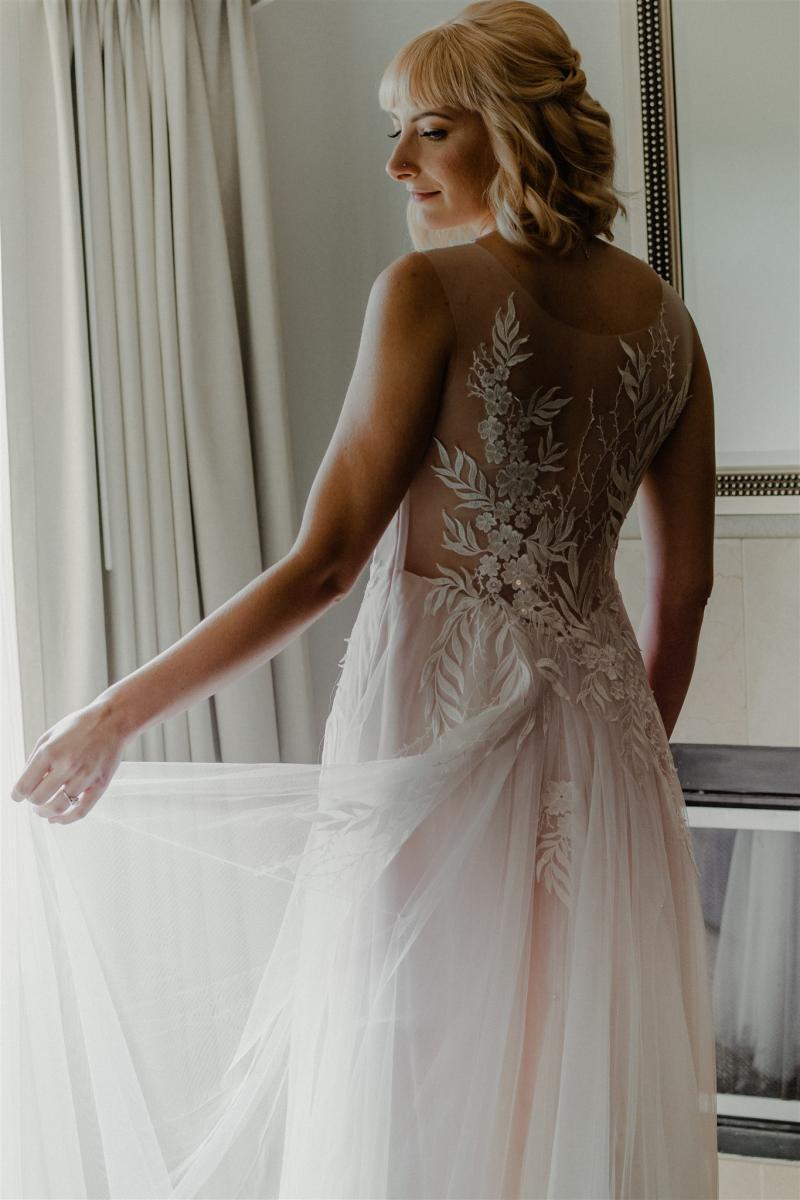 Sarah's floral detailed vintage flowy wedding dress