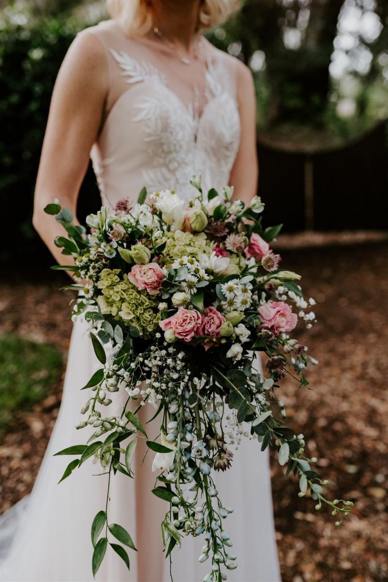 Large, cascading bridal bouquet